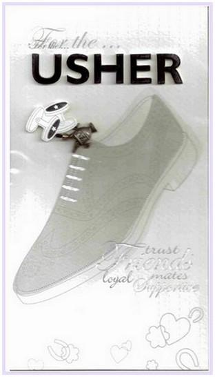 Wedding Thank You Card - Usher Wedding Shoes and Cufflinks