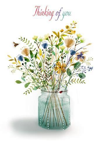 Thinking of You Card - Flowers In Glass Jar