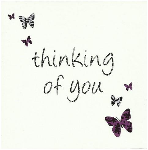 Thinking of You Card - Purple Butterflies