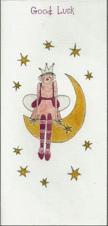Good Luck card - Fairy On Half Moon