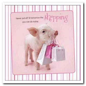 Birthday Card - Pig Holding Shopping Bags