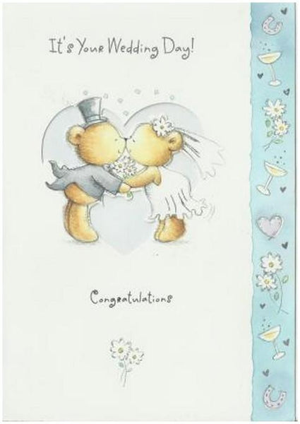Wedding Card - Bear Bride & Groom Kissing