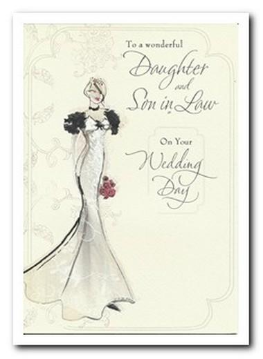 Wedding Card - Daughter and Son in Law Bride Wedding Dress