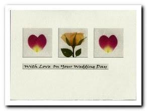 Wedding Card - Heart Petals and Yellow Rose