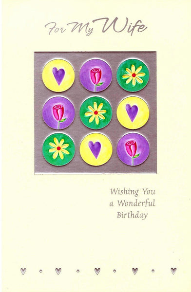 Wife Birthday - Flower and Hearts Buttons