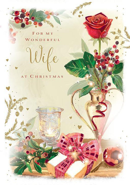 Christmas Card - Wife - Red Christmas Rose
