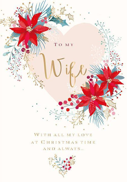Christmas Card - Wife - Poinsettia
