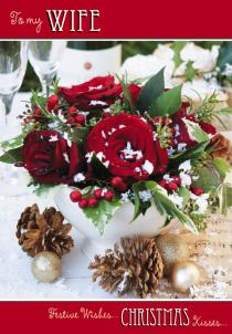 Christmas Card - Wife - Red Roses For Christmas