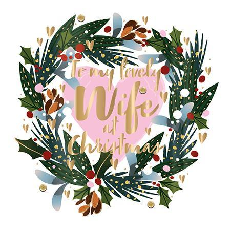 Christmas Card - Wife - Holly Wreath