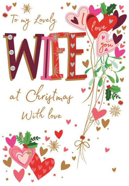 Christmas Card - Wife - Hearts At Christmas