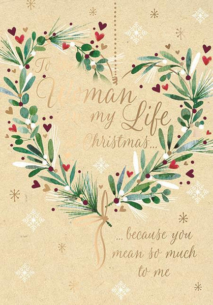Christmas Card - Woman In My Life - Wreath Of Love