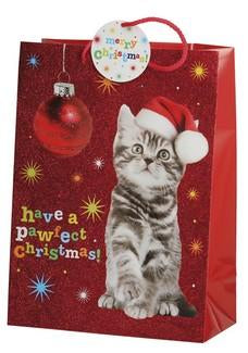 Christmas Gift Bags - Large Cat in Santa Hat