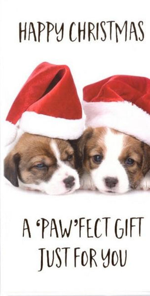 Christmas Card - Gift Wallet - Puppies In Santa Hat