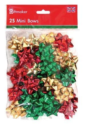 Bow Bag - 25 Mini Bows - Red/Gold/Green