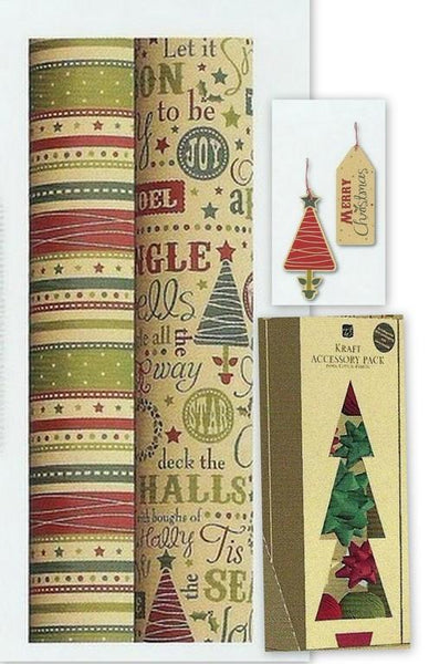 Christmas Gift Roll Wrap, Accessories & Gift Tags - Kraft - Recyclable