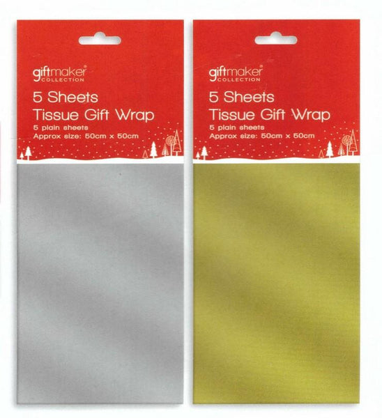 Tissue Pack - 5 Sheet Metallic Tissue Pack - Silver or Gold