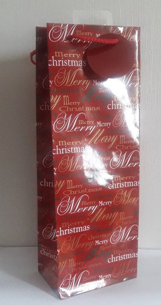 Christmas Gift Bags - Bottle Bag - Festive Text