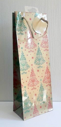 Christmas Gift Bags - Bottle Bag - Trees
