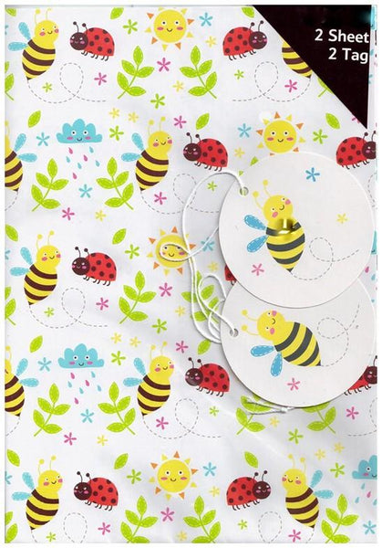 Gift Wrap - 2 Sheet 2 Tag - Ladybirds