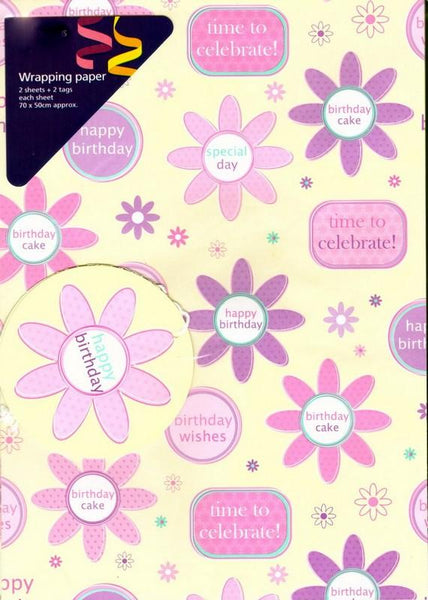 Gift Wrap - 2 Sheet 2 Tag Cream Floral