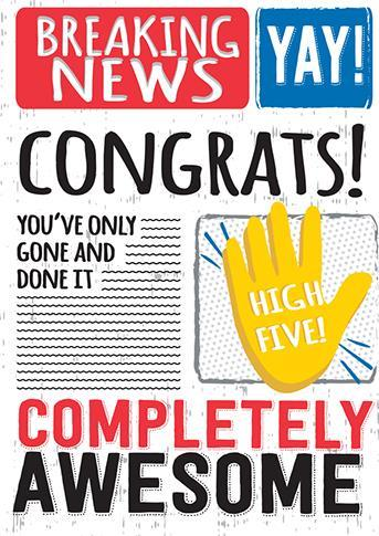 Congratulations Card - Breaking News - Congrats!