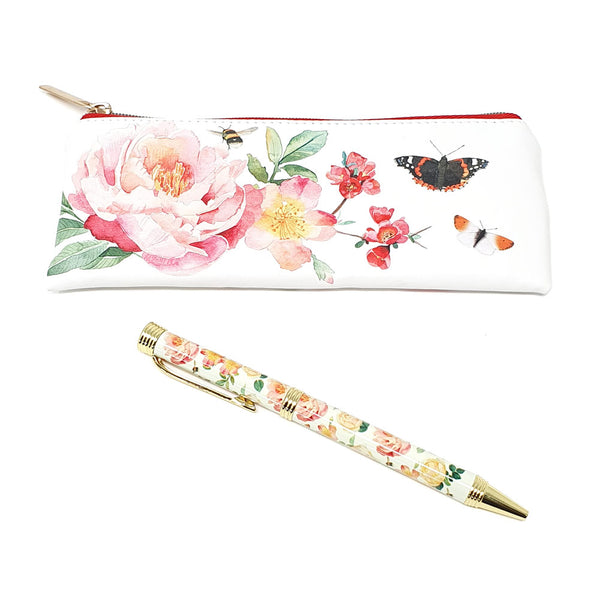 A Year In The Garden Pen & Pouch Set - Bees & Butterflies