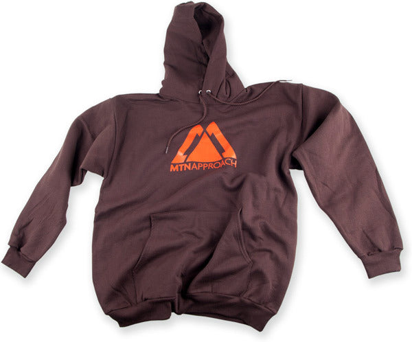 Hooded sweatshirt, cocoa and orange, MTNApproach logo