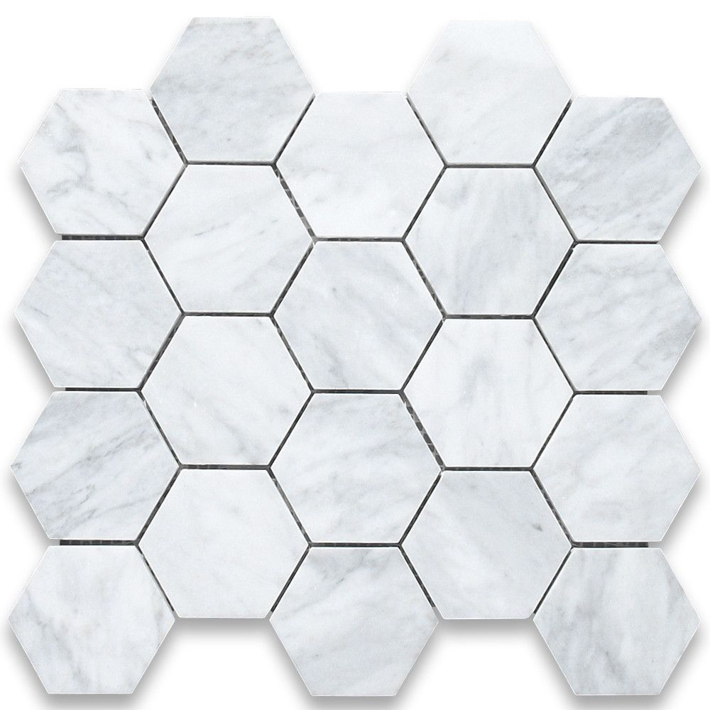 "White Carrera 3"" Hexagon Marble"