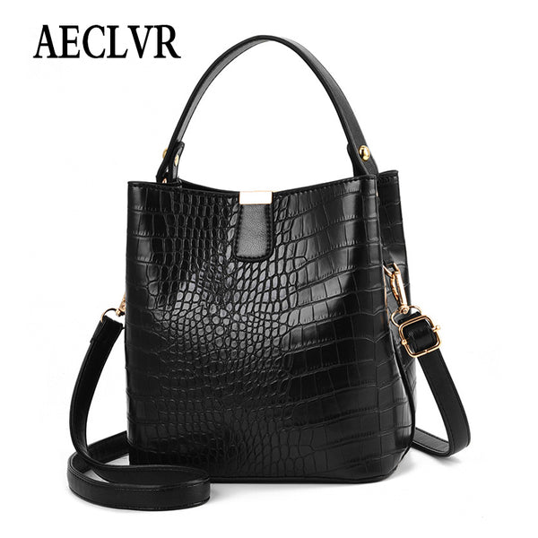 AECLVR Fashion Large Alligator Bucket Tote Bags Women Crocodile Pattern Handbags Casual Shoulder Messenger Bags Ladies PU Purse