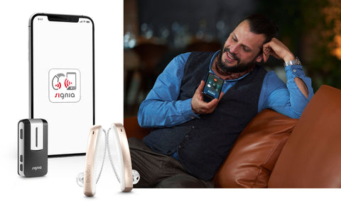 Signia Styletto Connect Nx 3 Hearing Aids (Pair) - Rechargeable, Slim, iPhone Compatible (Free Pocket Charger)