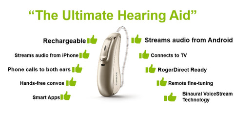 Phonak Audeo P Paradise P70 Hearing Aids (Stream Android & iPhone)