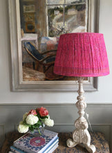 Load image into Gallery viewer, Hot pink paisley saree lampshade
