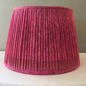 Hot pink paisley saree lampshade