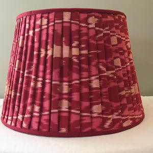 Red silk Ikat lampshade