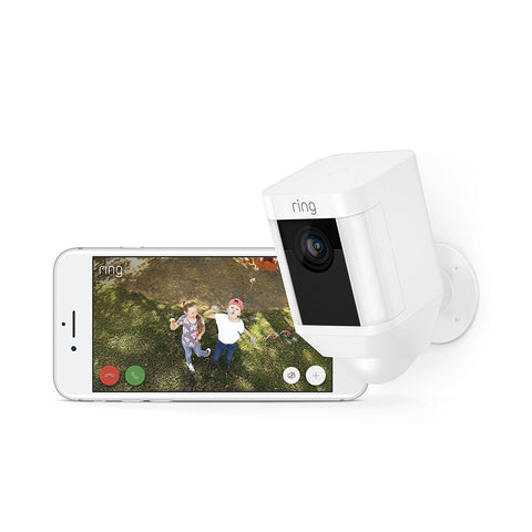 Image of Ring Spotlight Cam Battery HD Security Camera with Built Two-Way Talk and a Siren Alarm, White, Works with Alexa