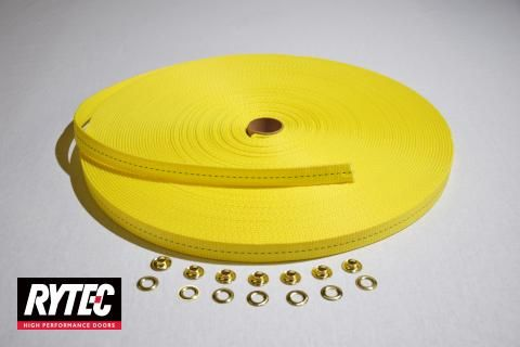 "Image of RYTEC Fast Seal Yellow Counterweight Strap @ 143"" complete with (1) grommet installed"