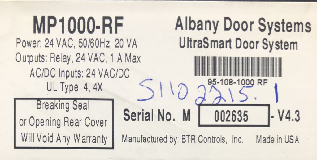 ALBANY DOOR SYSTEMS ULTRASMART CONTROLLER PREVIOUSLY INSTALLED!!