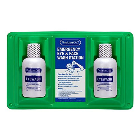 "PhysiciansCare by First Aid Only 24-102 Wall Mountable Eye and Skin Flush Station with Two 16 oz Bottles, 16-1/2"" L x 3-3/4"" W x 13-1/2"" H"