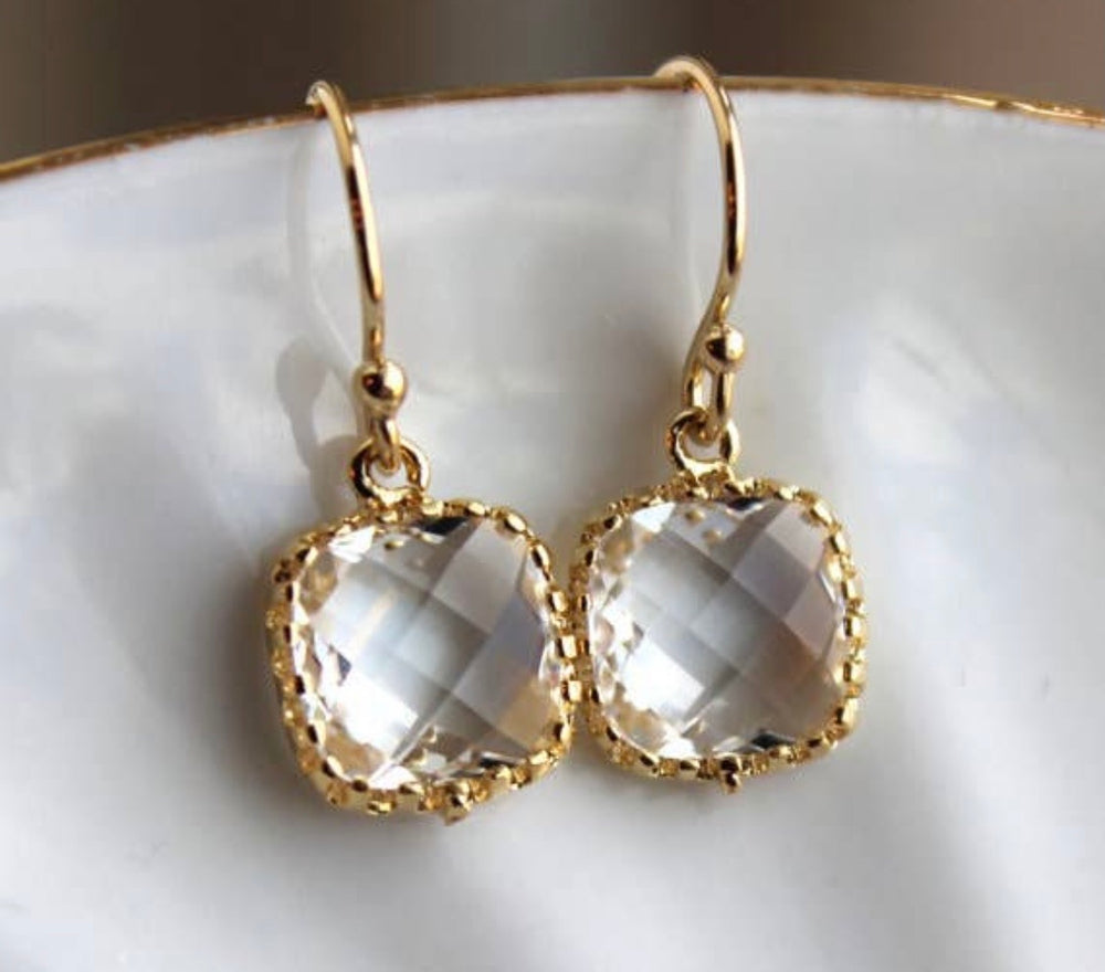 Petite Crystal Gold Drop Earrings