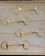Snaffle Bit Gold Equestrian Long Necklace