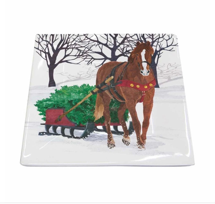 Winter Horse Sleigh Holiday Square Plate