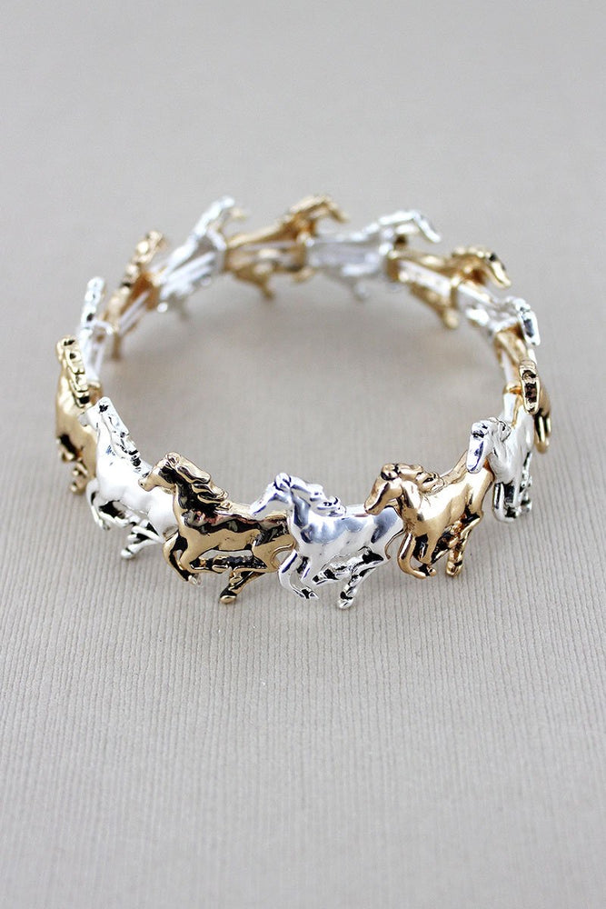 Equestrian Two-Tone Running Horse Stretch Bracelet