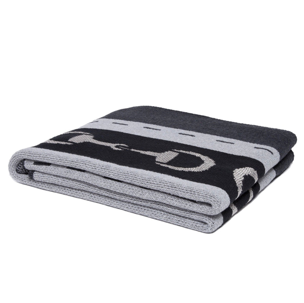 Equestrian Striped Horse Bit Blanket- Navy