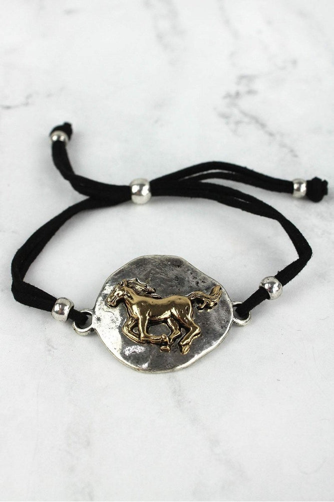 Equestrian Silver and Gold Horse Cord Bracelet