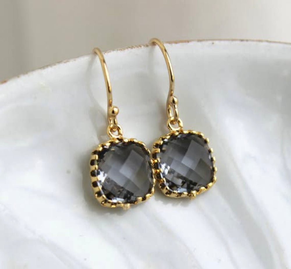 Petite Charcoal Grey Drop Earrings