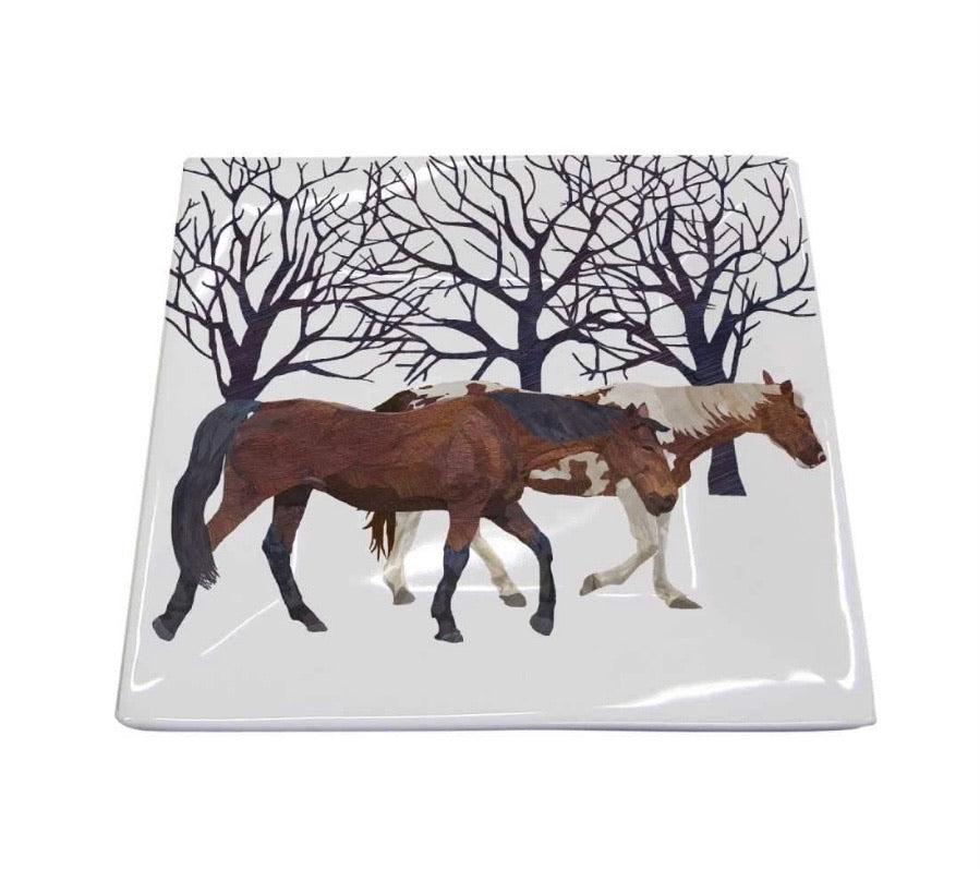 Winter Snow Horse Square Plate