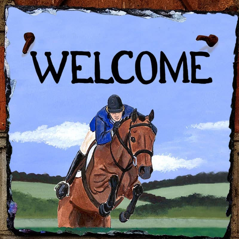Hunter Jumper Slate Welcome Tile
