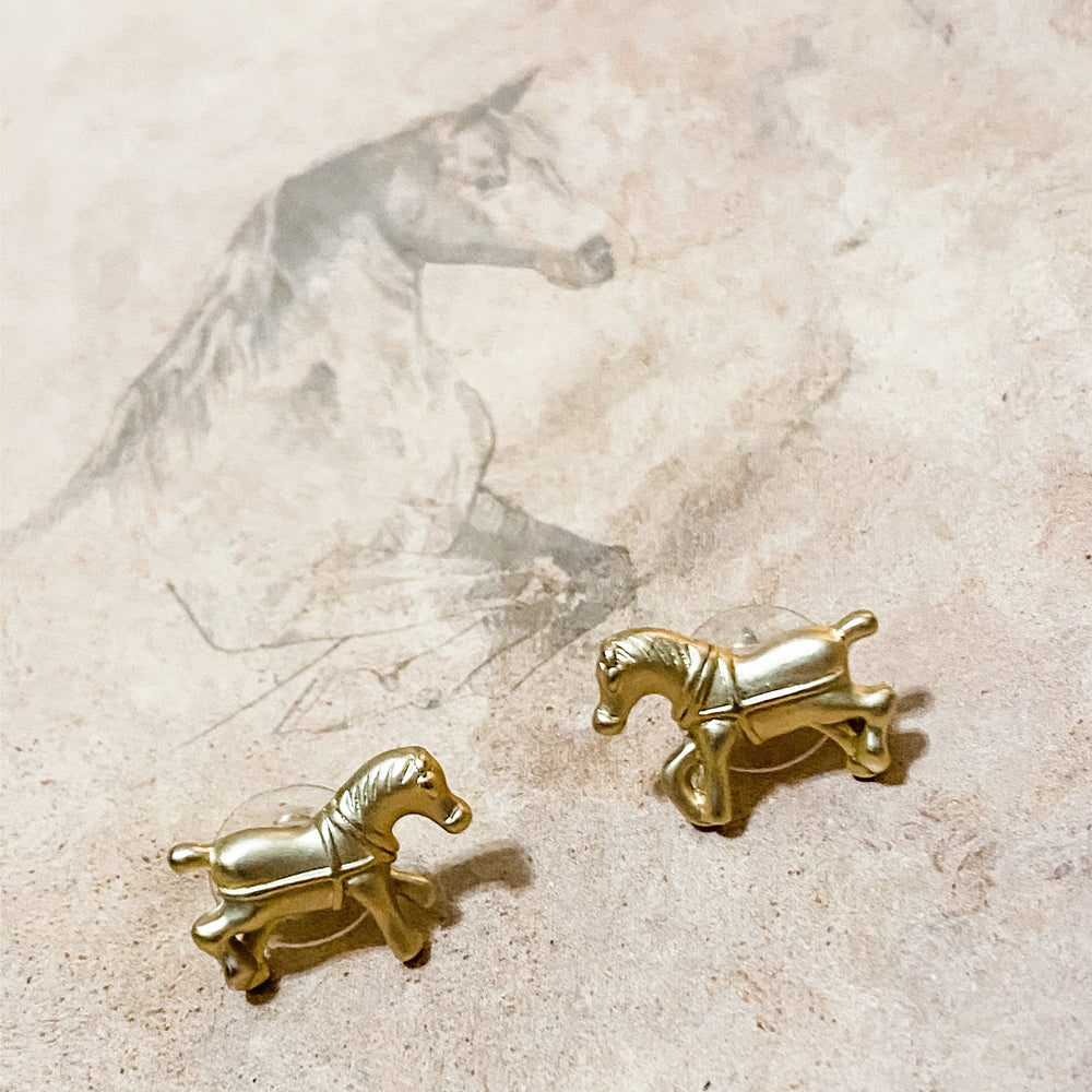 Whitney Gold Horse Earrings