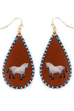 Horse Whipstitch Brown Teardrop Earrings