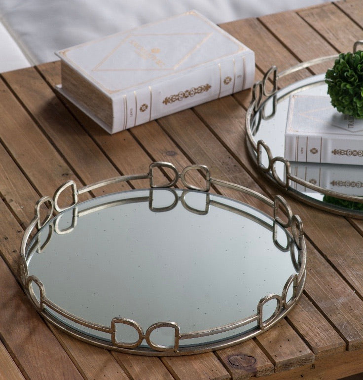 Equestrian Round Mirrored Tray